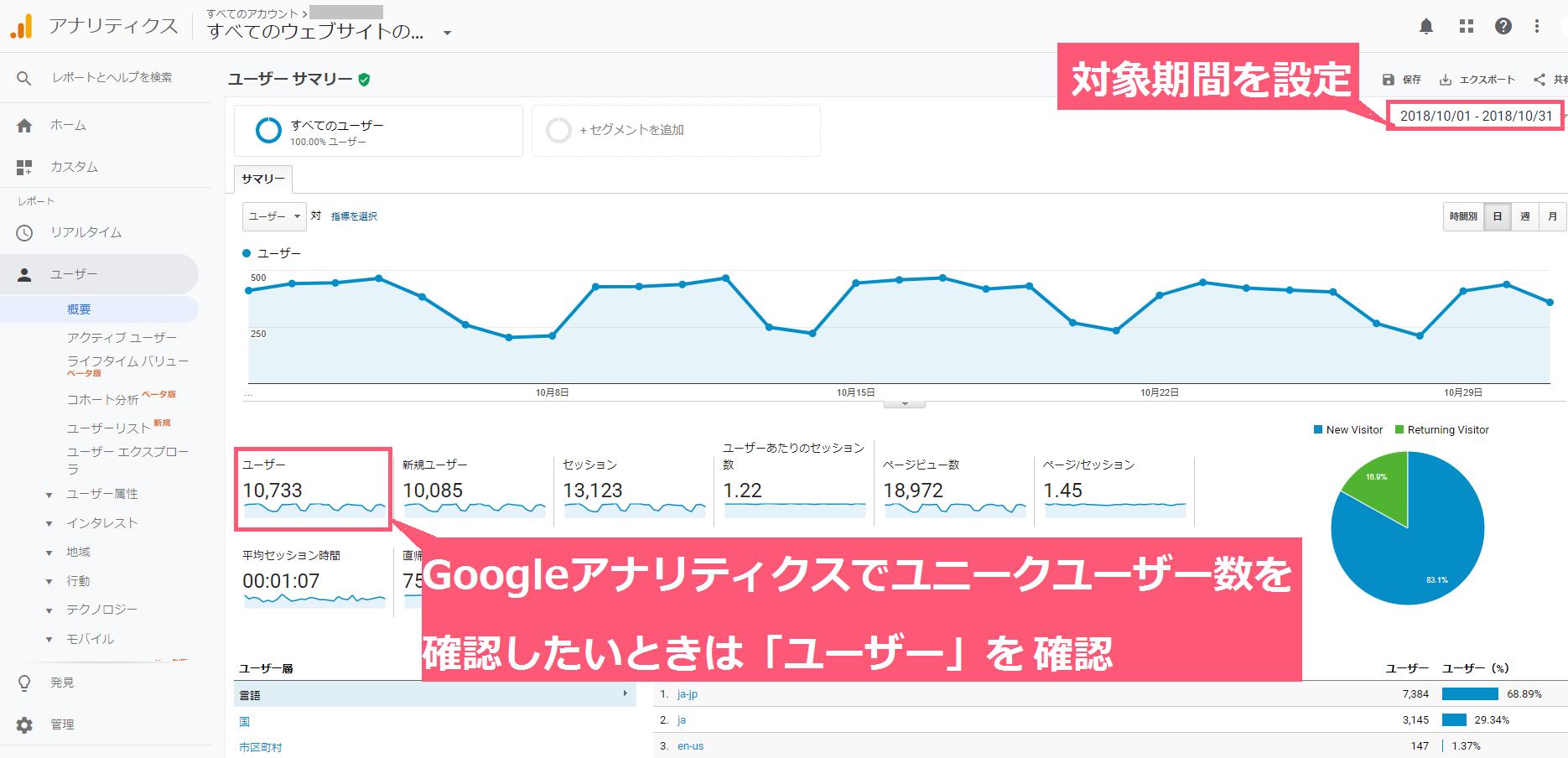 Googleアナリティクスのユーザー確認画面