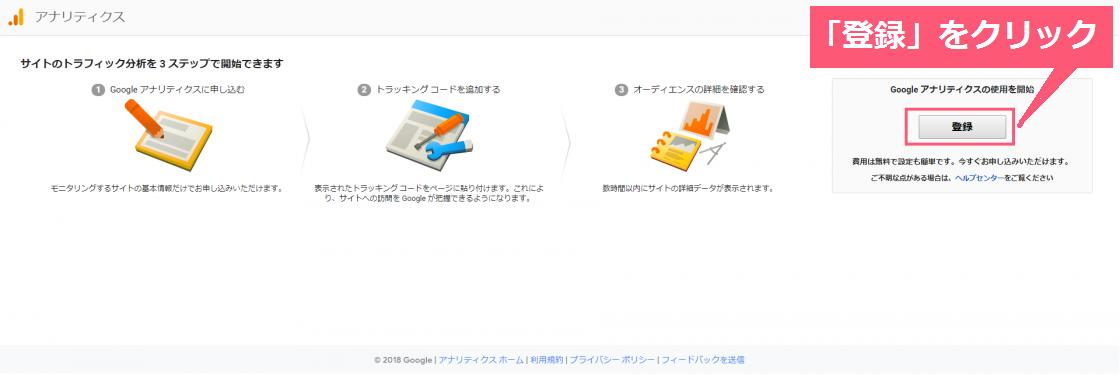 Googleアナリティクスの登録画面①